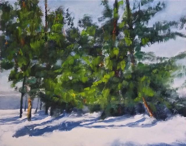 """Wintergreens"" original fine art by Ruth-Ann Carlock"