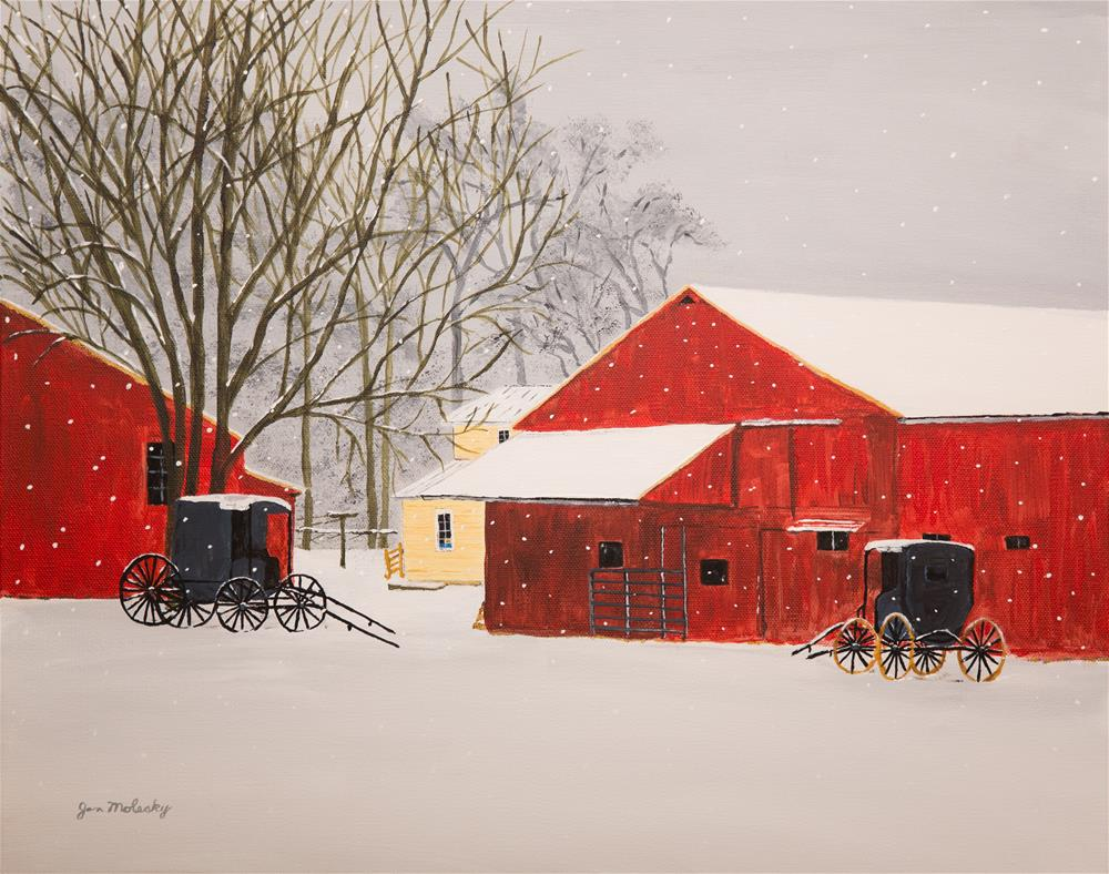 """More Flurries on the Farm"" original fine art by Jan Molesky"