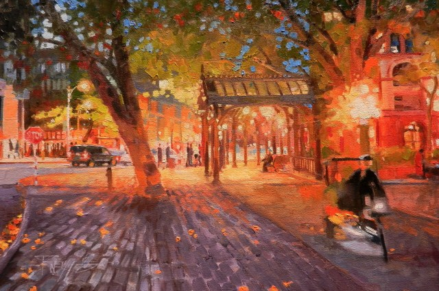"""Pioneer Square Evening Seattle city oil painting by Robin Weiss"" original fine art by Robin Weiss"