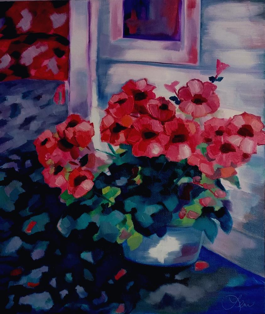 """Country Geraniums"" original fine art by Leni Tarleton"