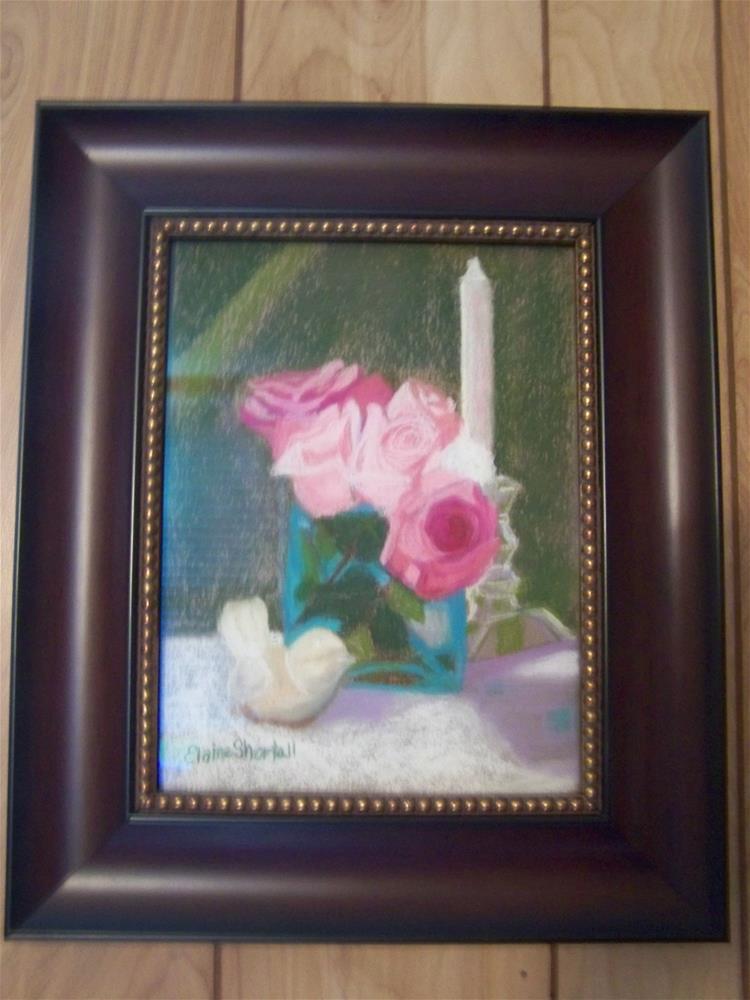 """Roses with Bird Figurine (Framed)"" original fine art by Elaine Shortall"