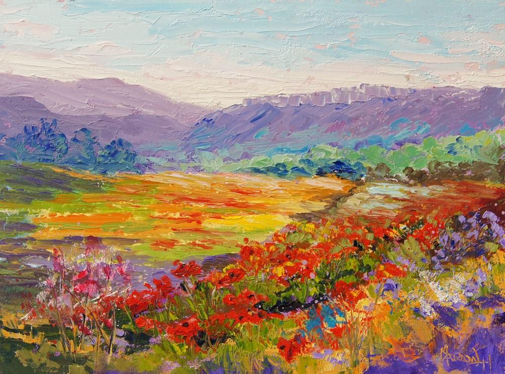 """Poppy Meadow Haut Alpes"" original fine art by Marion Hedger"
