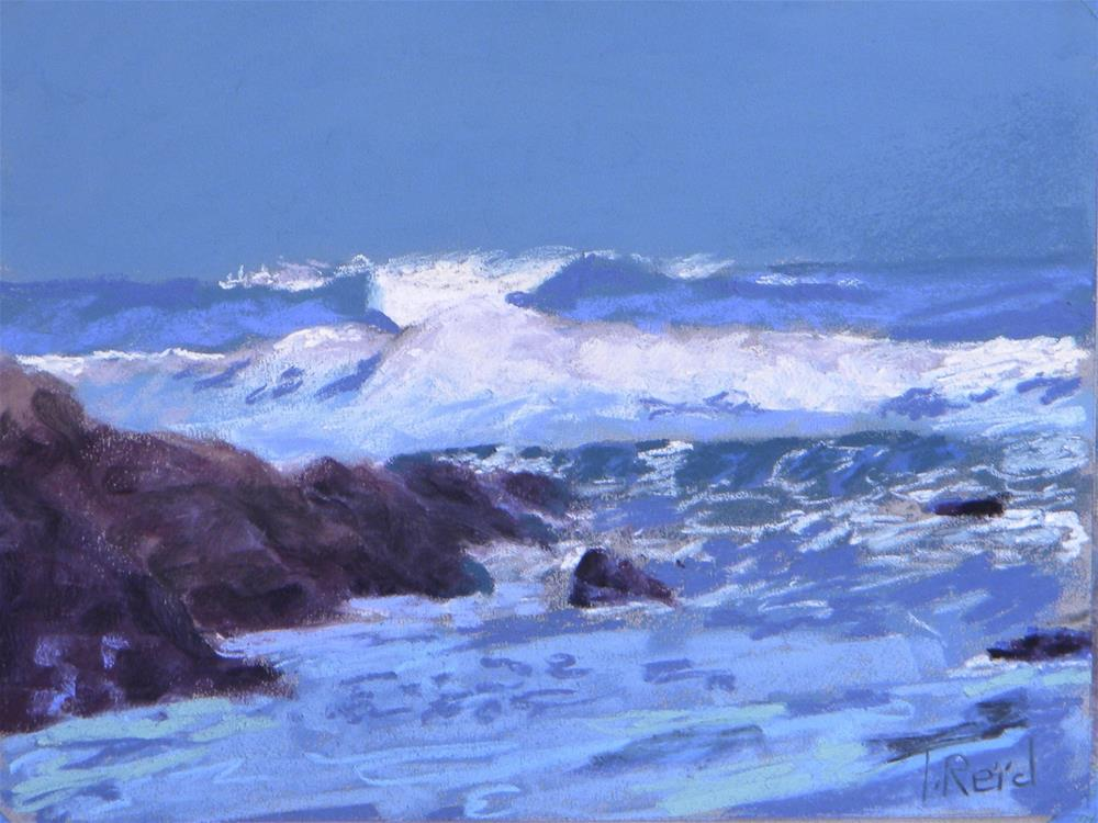 """Waves and Rocks"" original fine art by Toby Reid"