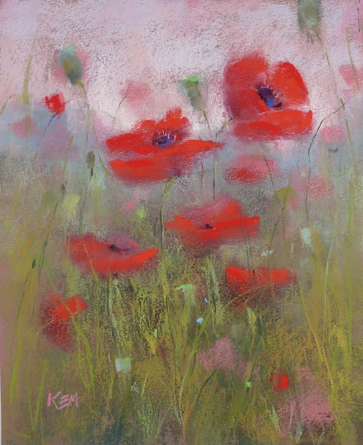 """Step by Step Demo: Pastel Poppies in Pictures"" original fine art by Karen Margulis"