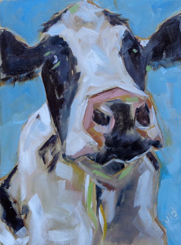 """""""Cow 99 SWEET LIPS"""" original fine art by Jean Delaney"""