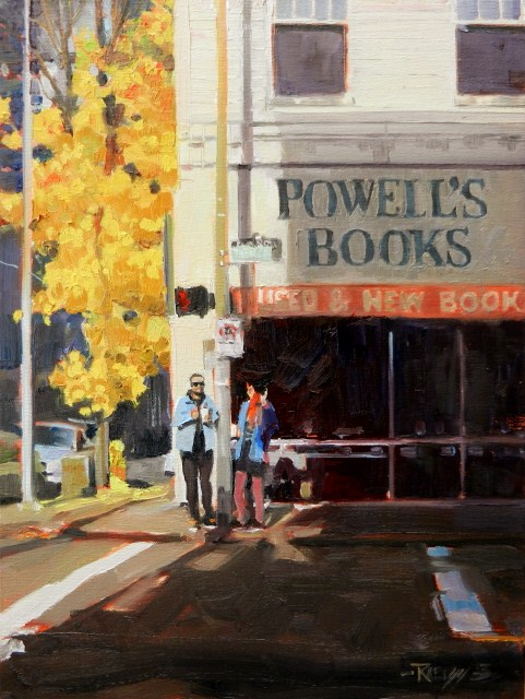 """Powell's Books Portland city oil painting by Robin Weiss"" original fine art by Robin Weiss"