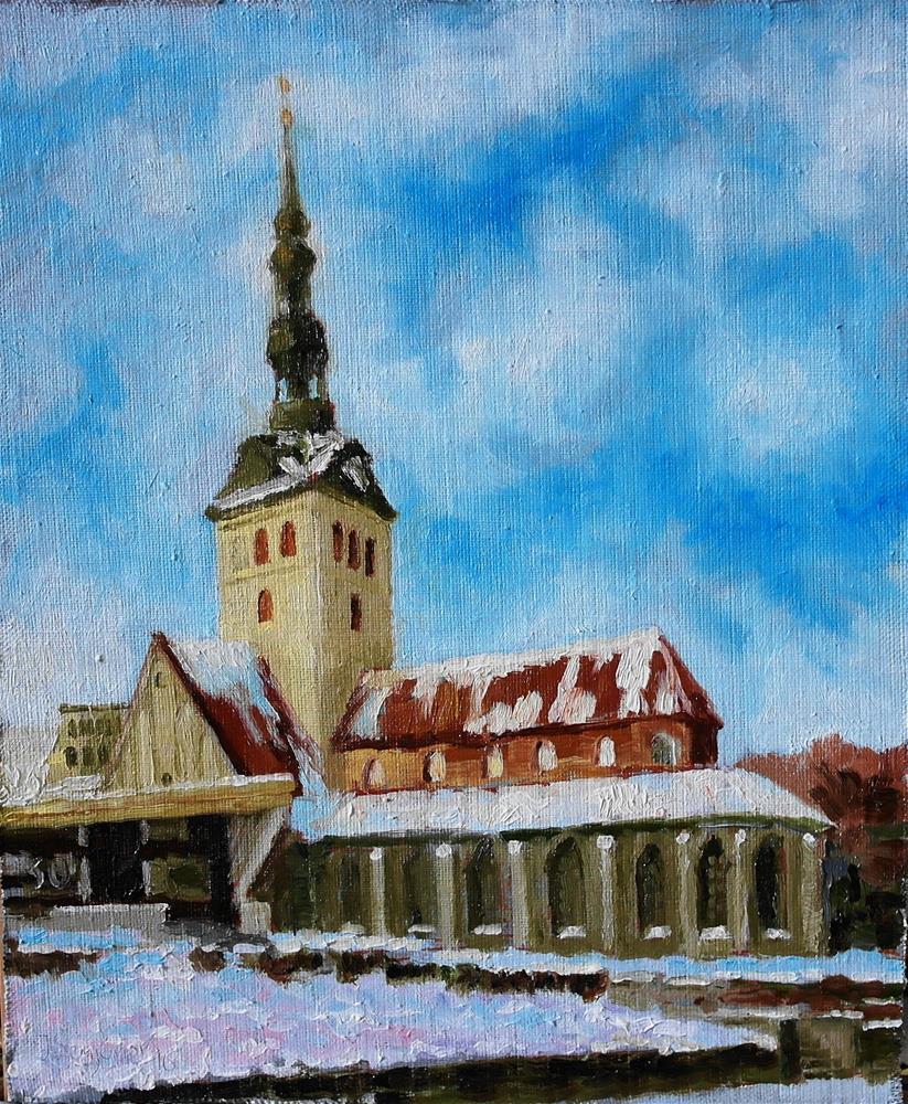 """""""St. Nicholas (Niguliste) Church in Tallinn"""" original fine art by Yuriy Semyonov"""