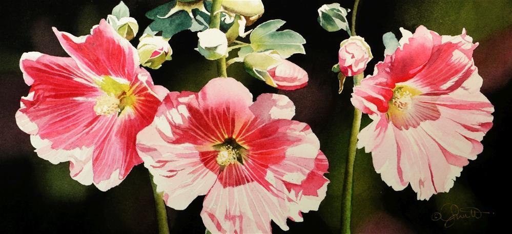 """""""Hollyhock Garden"""" original fine art by Jacqueline Gnott, TWSA, WHS"""