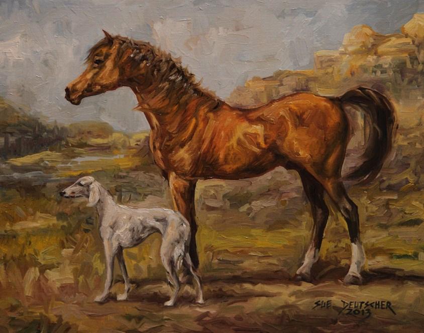 """""""Arabian and Saluki"""" original fine art by Sue Deutscher"""