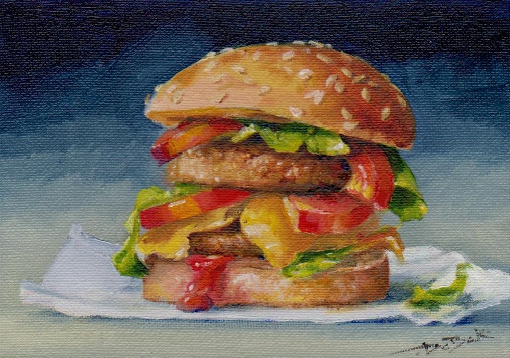 """cheeseburger"" original fine art by V. DeBak"