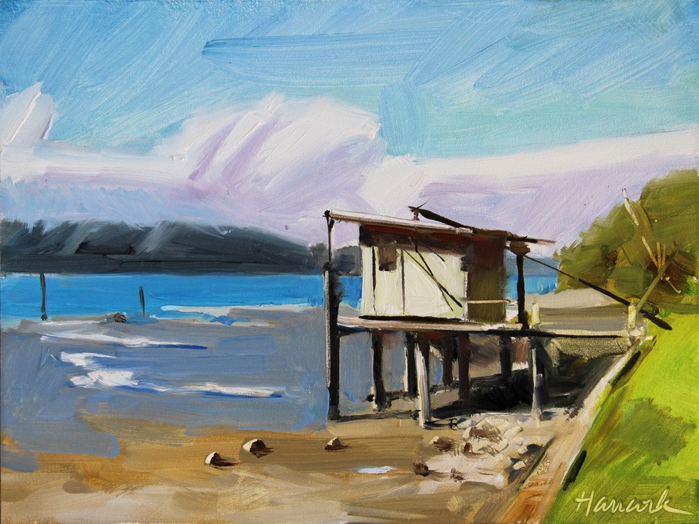 """Beach Shack at Cove"" original fine art by Gretchen Hancock"