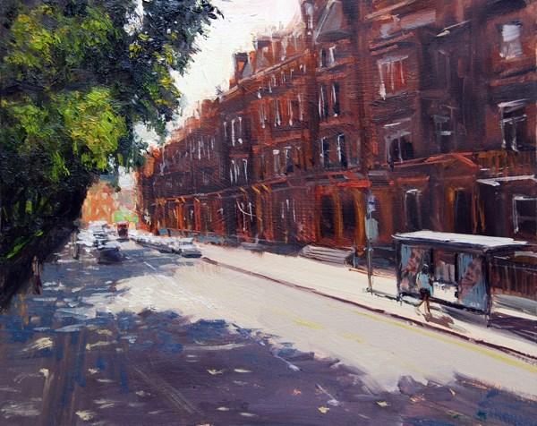 """Afternoon Light, Lower Sloane Street (26) Chelsea Marathon"" original fine art by Adebanji Alade"
