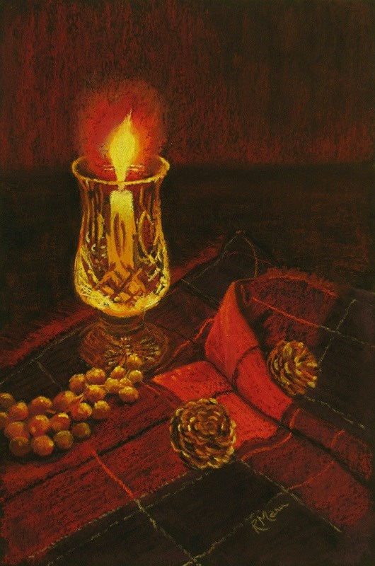 """""""Candle and Cameron"""" original fine art by Ruth Mann"""