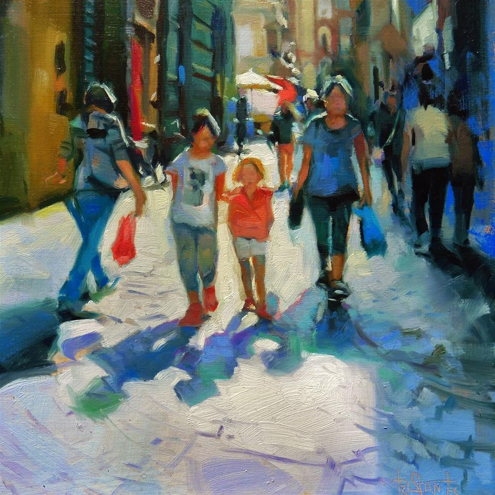 """Down the street"" original fine art by Víctor Tristante"