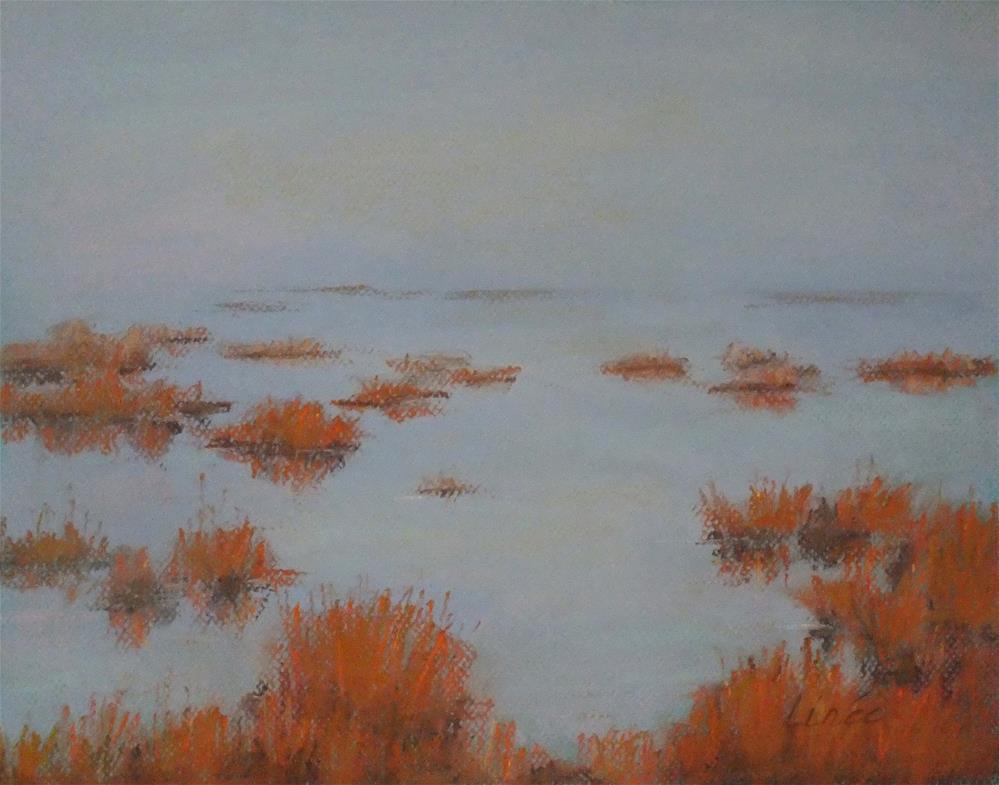 """Foggy Marsh 2"" original fine art by Linee Baird"