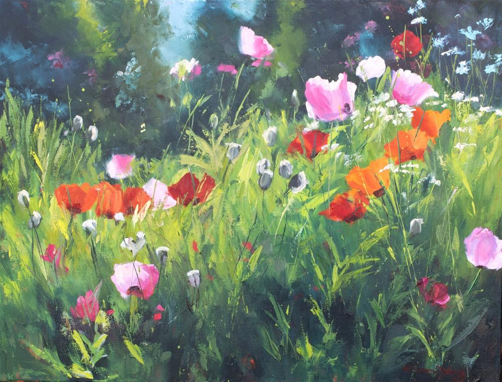 """KM3005 Lucious by Denver Colorado artist Kit Hevron Mahoney (24x36 oil, garden, poppies)"" original fine art by Kit Hevron Mahoney"