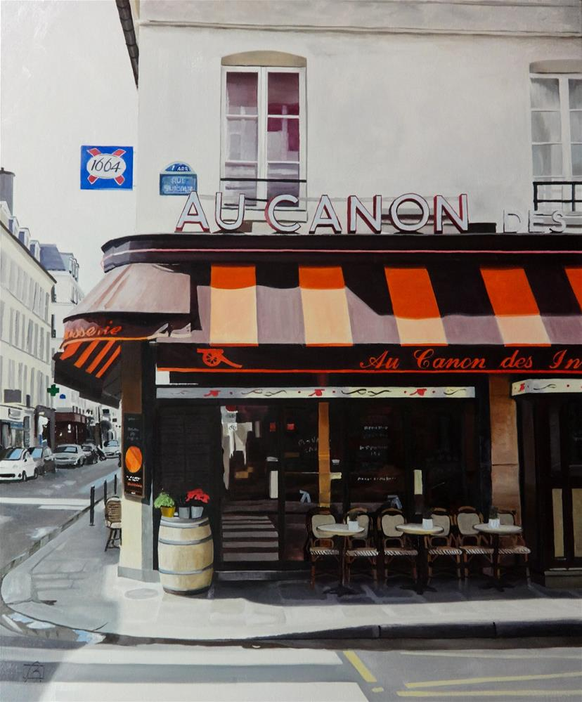 """Cafe Au Canon des Invalides"" original fine art by Andre Beaulieu"
