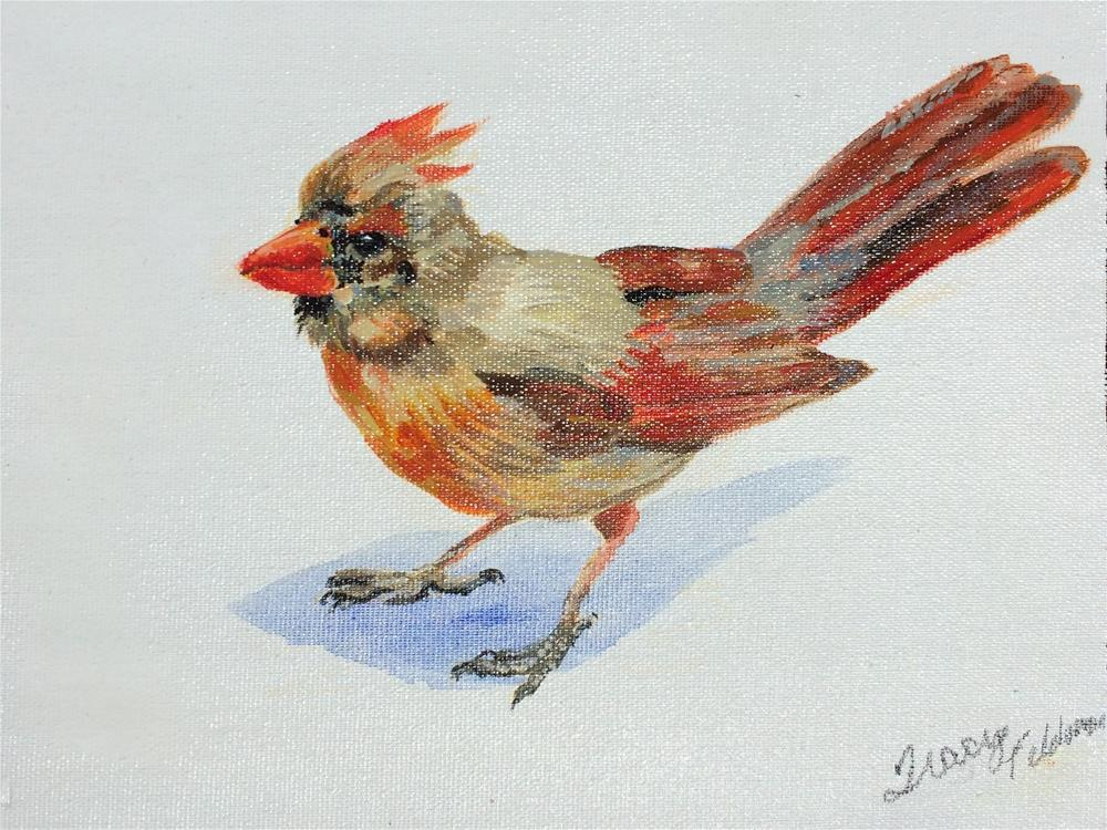 """Cardinal Impressions"" original fine art by Tracy Feldman"