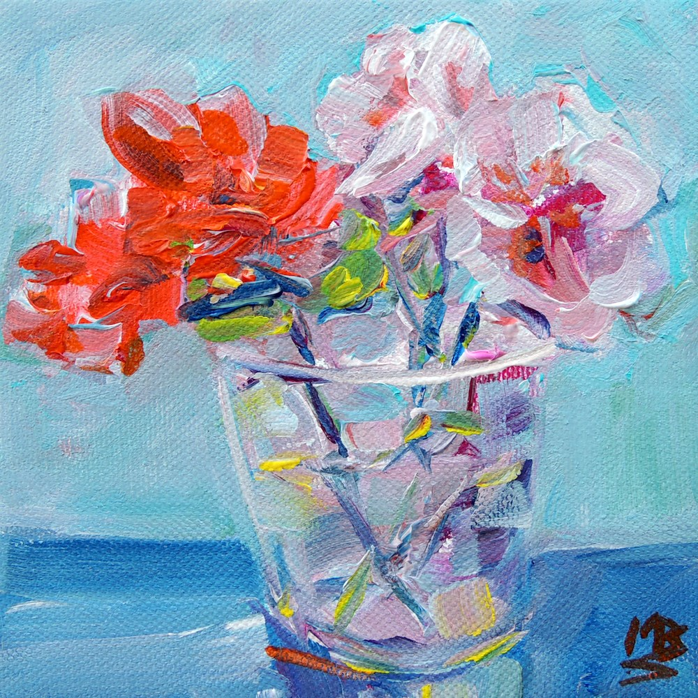 """GERANIUM 2"" original fine art by Mary Schiros"