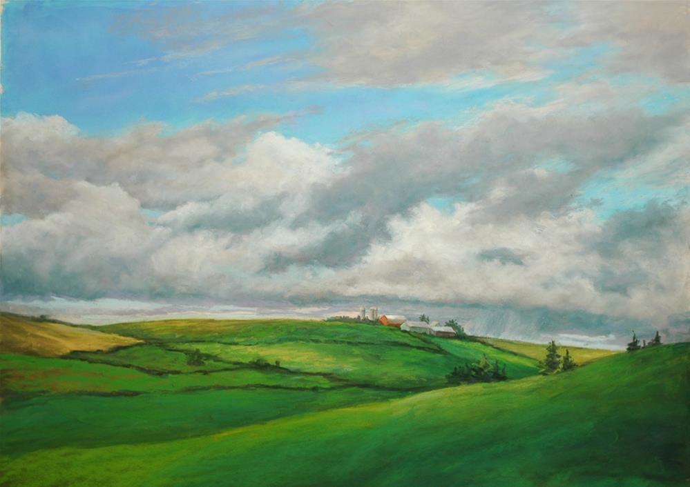 """Summer Fields and Clouds"" original fine art by Susan Klabak"