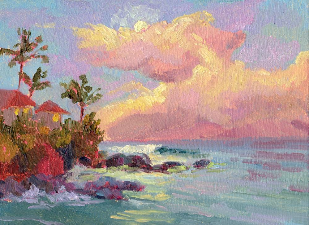 """SUNRISE CLOUDS AND ISLAND"" original fine art by Karen E Lewis"