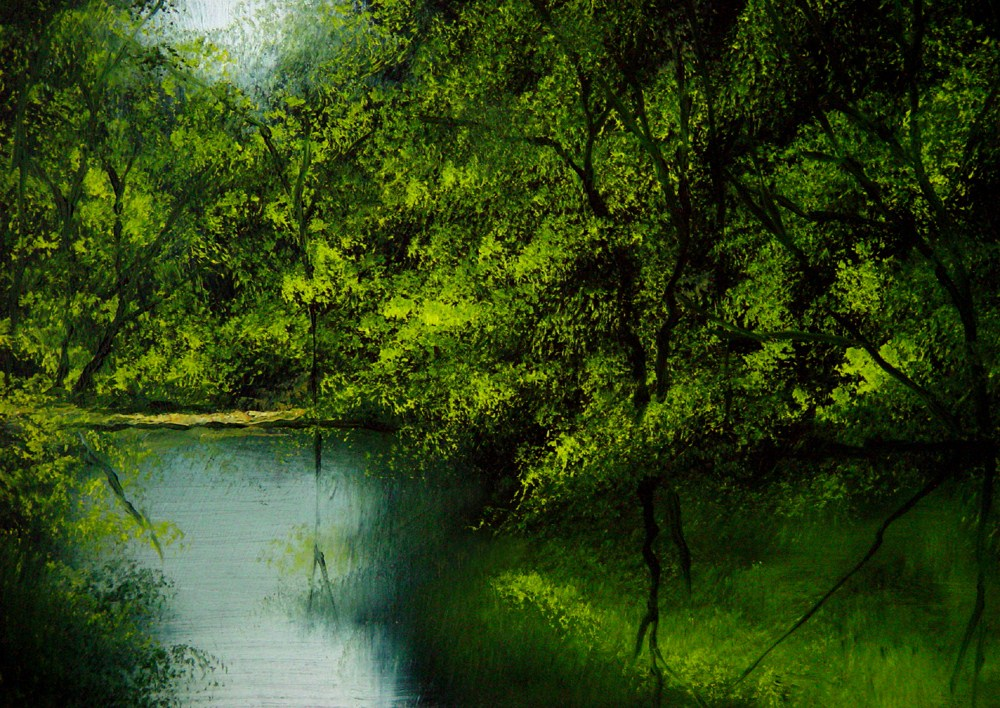 """Secret Fishing Hole"" original fine art by Bob Kimball"