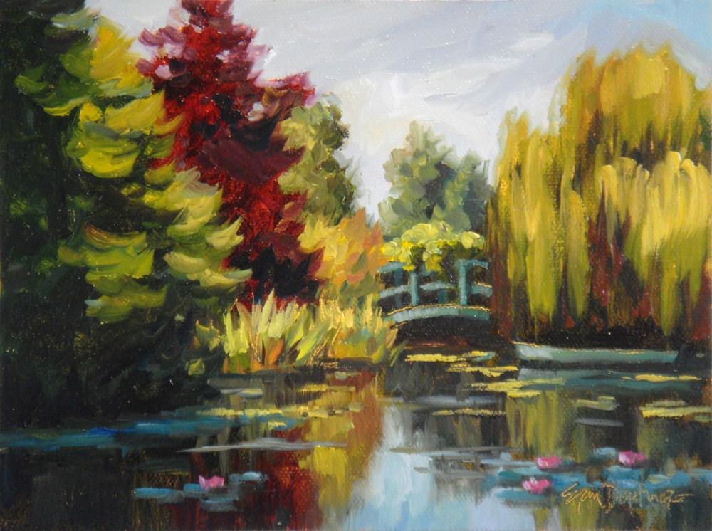"""Monet's Pond in Miniature"" original fine art by Erin Dertner"