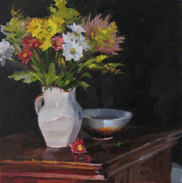"""Bouquet on Black floral still life daily painting of flowers in a pitcher"" original fine art by Sarah Sedwick"