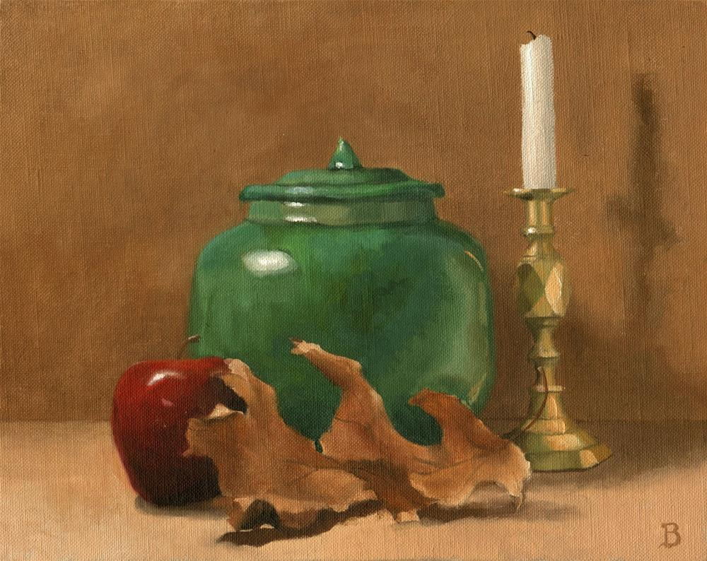 """Still life with Green Crock"" original fine art by Philla Barkhorn"