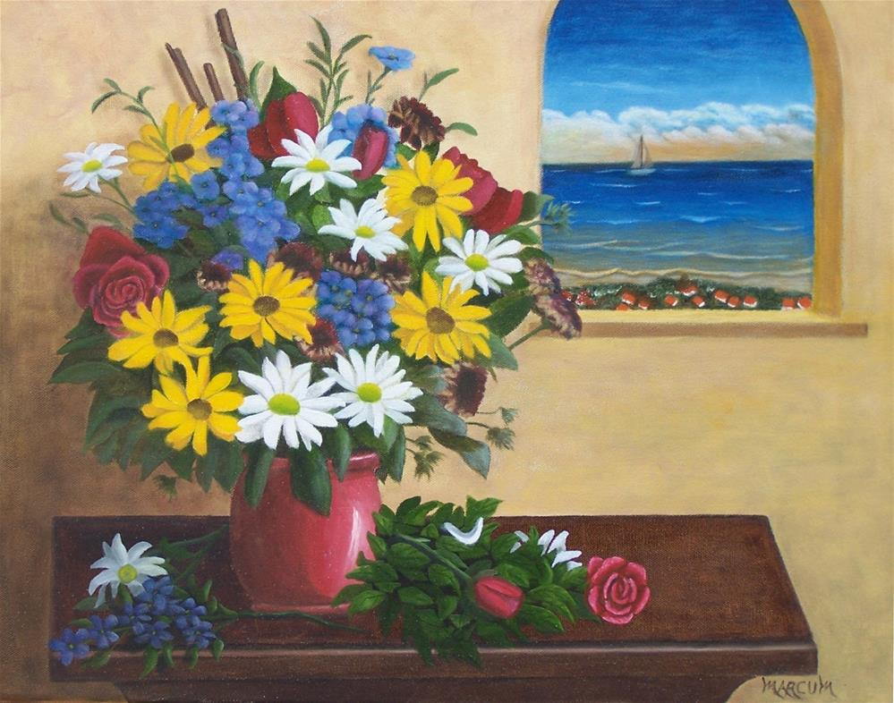 """Flowers by a window"" original fine art by John Marcum"