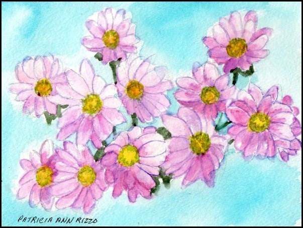 """Pink Daisies"" original fine art by Patricia Ann Rizzo"