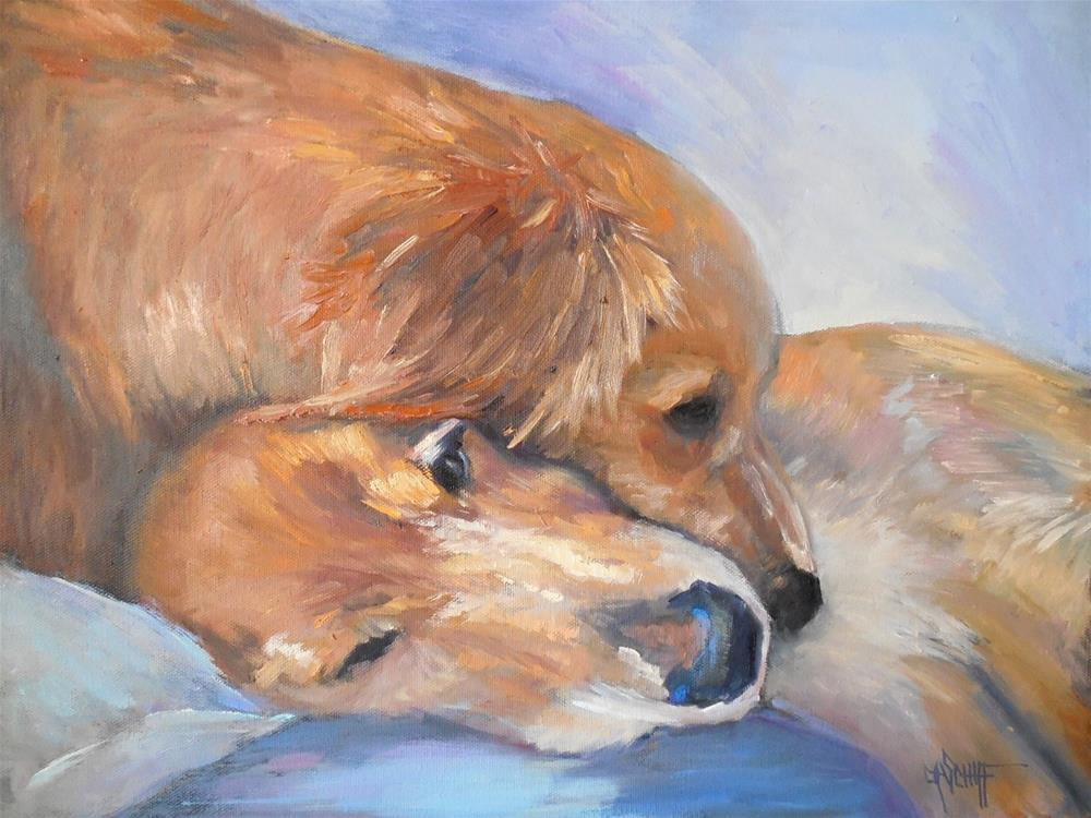 """Daily Painting, Small Oil Painting, Dog Painting, Dog Portrait, Puppy Love by Carol Schiff, 14x18x"" original fine art by Carol Schiff"