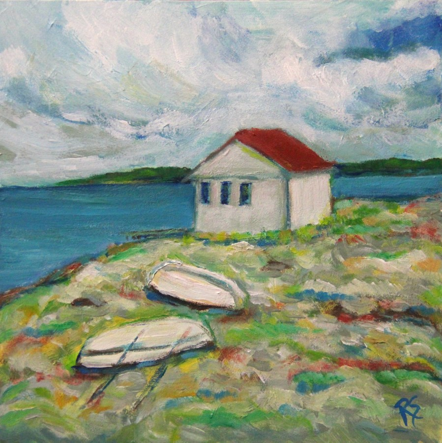 """The Boathouse in Sweden"" original fine art by Roberta Schmidt"