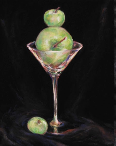 """APPLE 'TINI- 14 x 11 still life pastel by Susan Roden"" original fine art by Susan Roden"