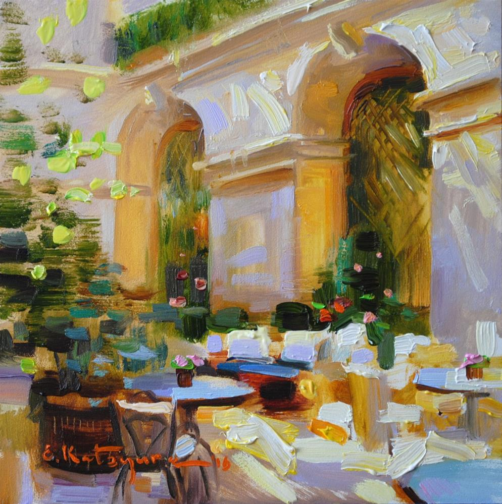 """In The Restaurant"" original fine art by Elena Katsyura"