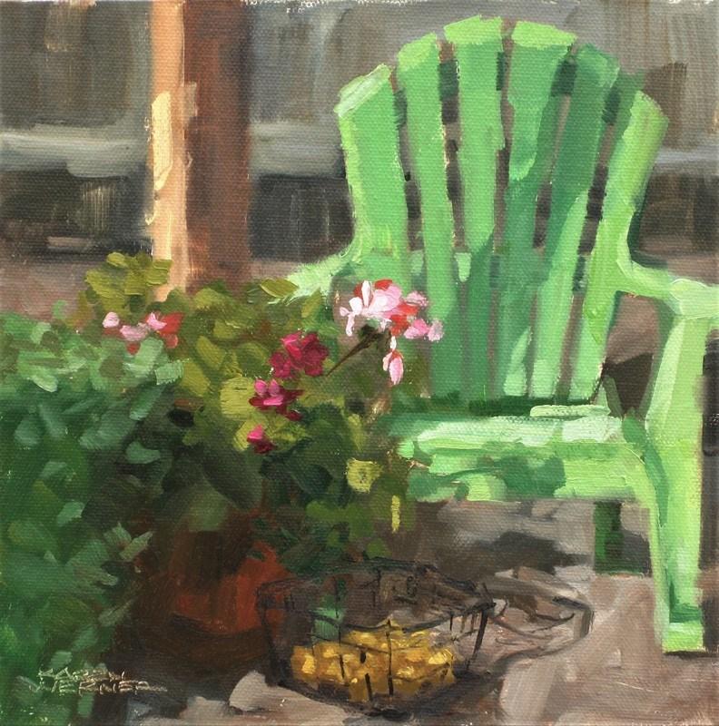"""""""Patio Seating"""" original fine art by Karen Werner"""