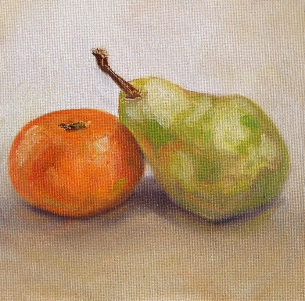 """Reclining Pear"" original fine art by Beth Moreau"