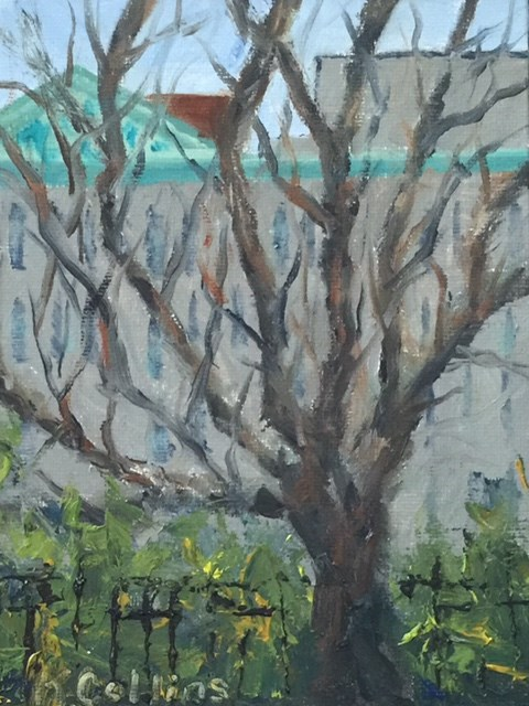 """A Tree Grows in Washington Square"" original fine art by Kathy Collins"