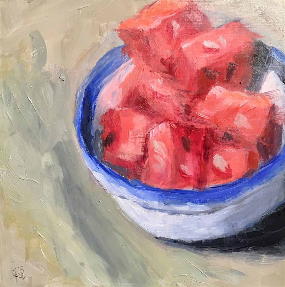 """090 Watermelon Chunks"" original fine art by Fred Bell"