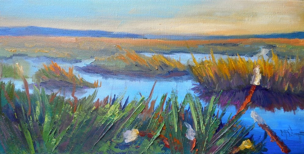 """Daily Painting, Small Oil Painting, Marsh Landscape Painting, Georgia Wetlands by Carol Schiff, 6x12"" original fine art by Carol Schiff"