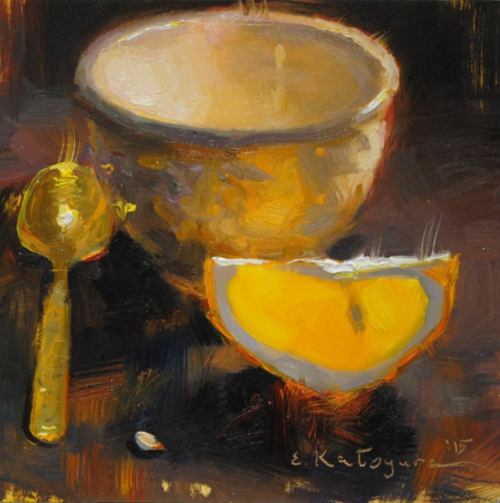 """Evening Cup and Orange"" original fine art by Elena Katsyura"