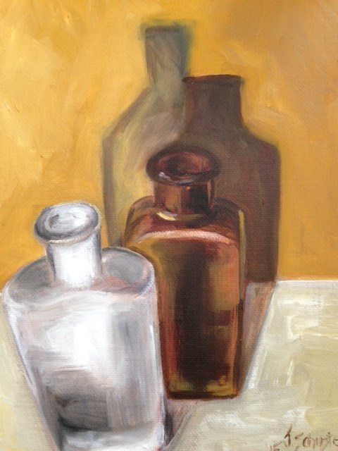 """Bottle on mantel"" original fine art by Juli Schuster"
