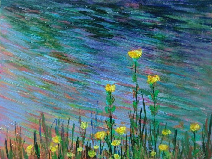 """3124 - Matted - River Flowers"" original fine art by Sea Dean"