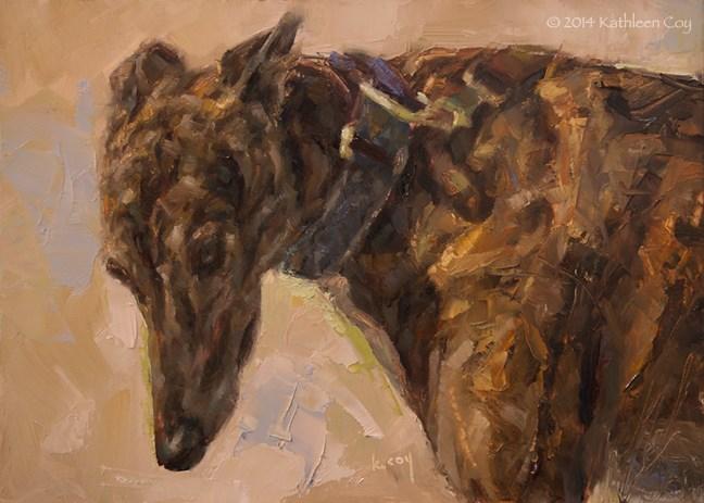 """""""Day 26 - Greyhound"""" original fine art by Kathleen Coy"""