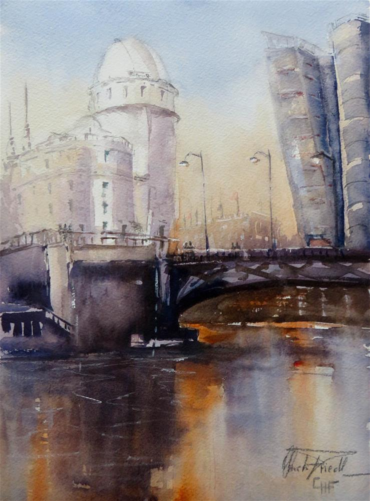 """View towards  Urania - Danube Canal, Vienna before sunset"" original fine art by Christa Friedl"
