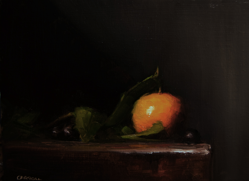 """Clementine with Leaves"" original fine art by Neil Carroll"