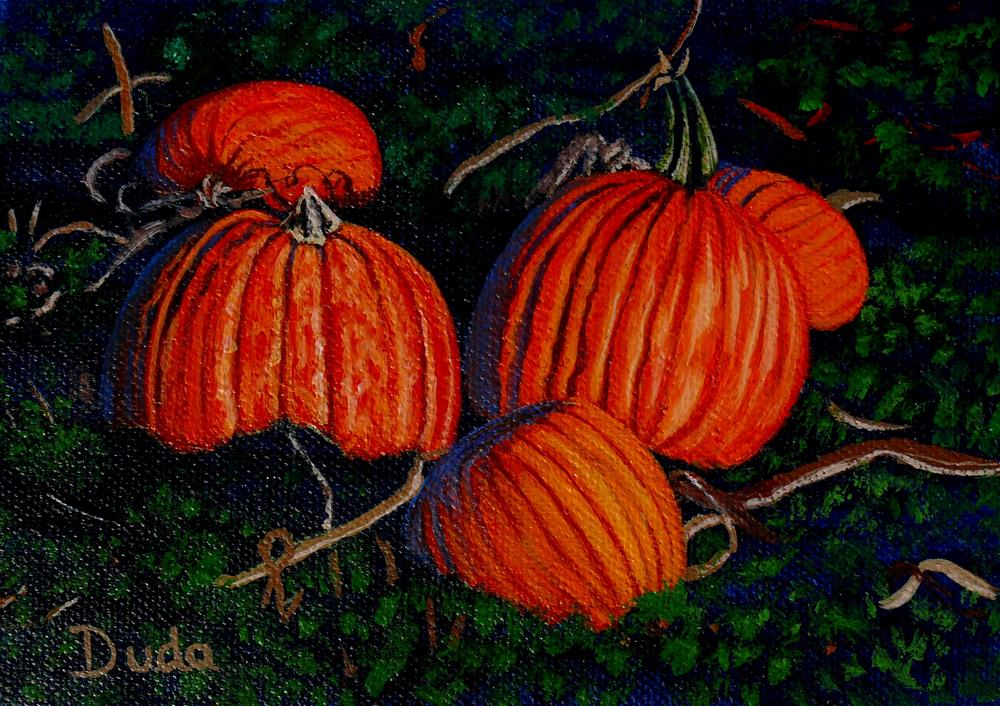 """Pumpkin Patch"" original fine art by Susan Duda"