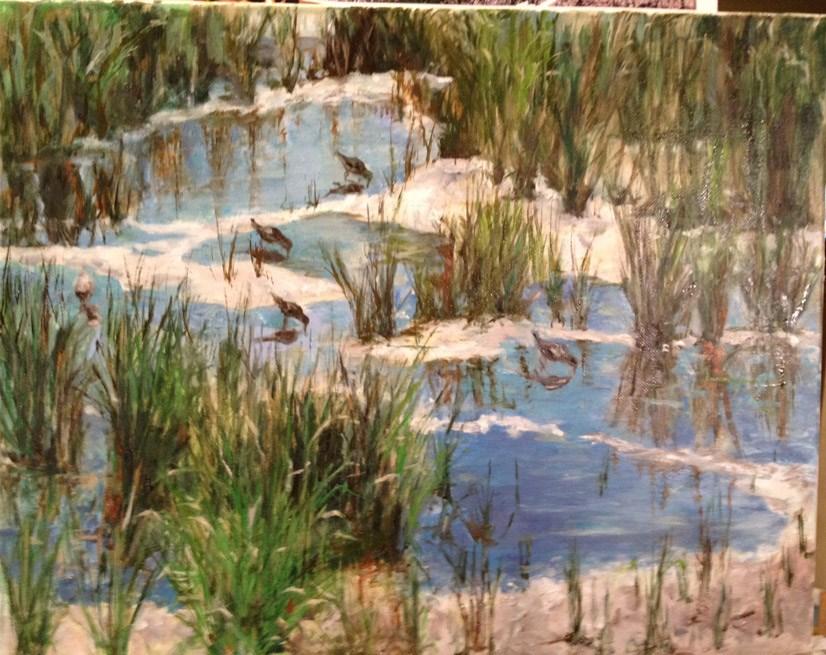 """Galveston Girls"" original fine art by Lucy Hammett"