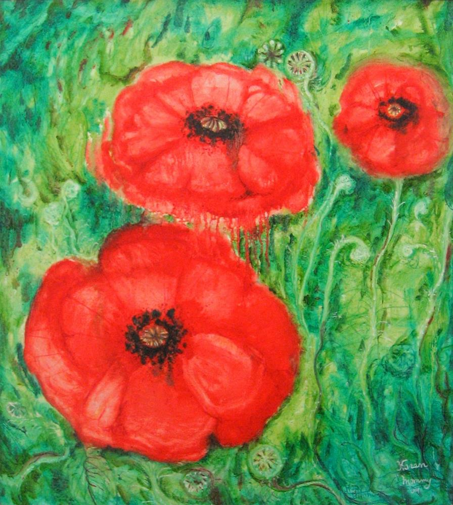 """Poppies Galore"" original fine art by Karen Roncari"