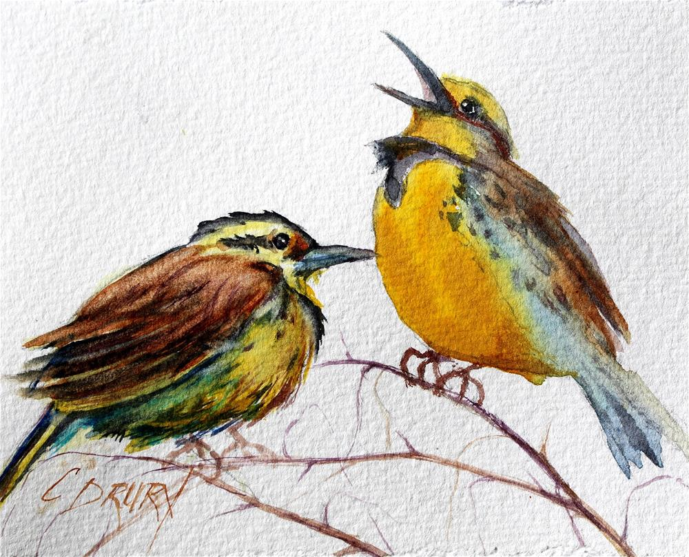 """Meadowlark Mates"" original fine art by Colleen Drury"